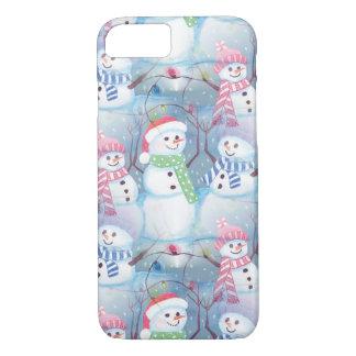 Cute Colorful Funny Winter Season Snowmen Pattern iPhone 7 Case