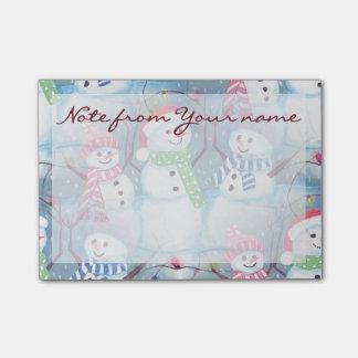Cute Colorful Funny Winter Season Snowmen Pattern Post-it Notes