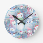 Cute Colorful Funny Winter Season Snowmen Pattern Round Wall Clock