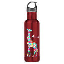 Cute Colorful Giraffe - add your name Water Bottle