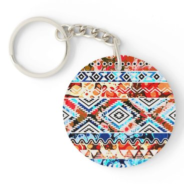 Aztec Themed Cute colorful girly aztec patterns keychain