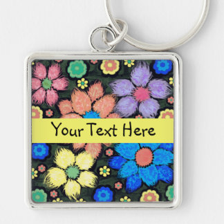 Cute Colorful Girly Floral Keychain
