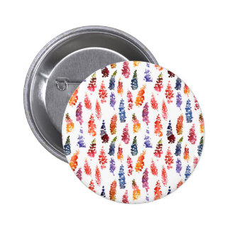 Cute colorful girly lupine flowers pattern pinback button