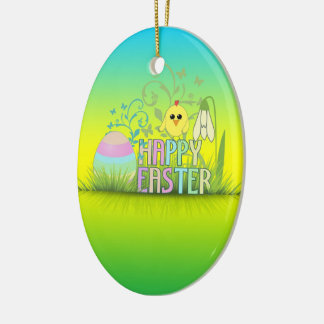 Cute Colorful Happy Easter Egg, Chick and Snowdrop Ceramic Ornament