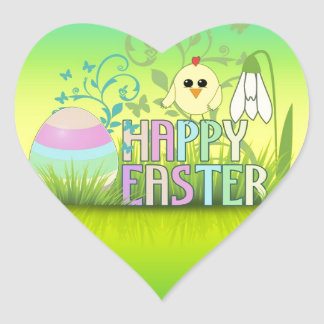 Cute Colorful Happy Easter Egg, Chick and Snowdrop Heart Sticker