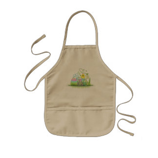 Cute Colorful Happy Easter Egg, Chick and Snowdrop Kids' Apron