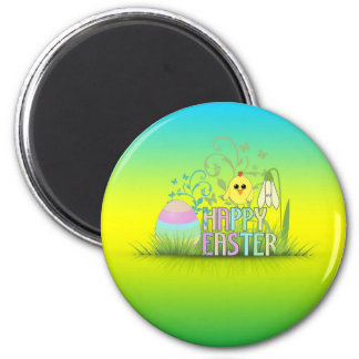 Cute Colorful Happy Easter Egg, Chick and Snowdrop Magnet
