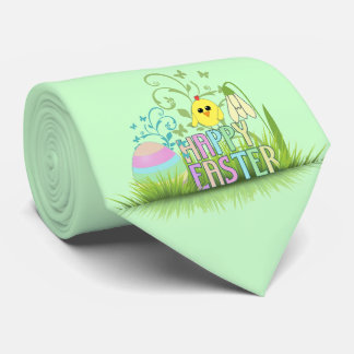 Cute Colorful Happy Easter Egg, Chick and Snowdrop Tie