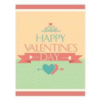 Cute colorful Happy Valentines day design Postcard