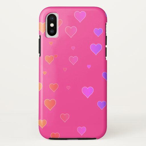 Cute Colorful Hearts Pink iPhone Case