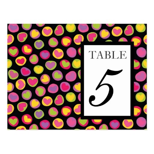 Cute colorful hearts Wedding Table Number Postcard