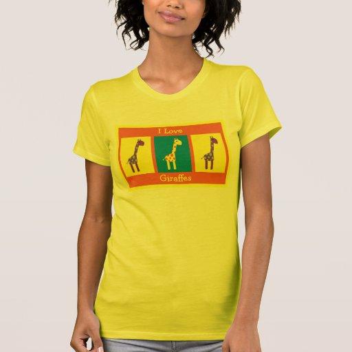 Cute & Colorful I Love Giraffes Customizable Shirts