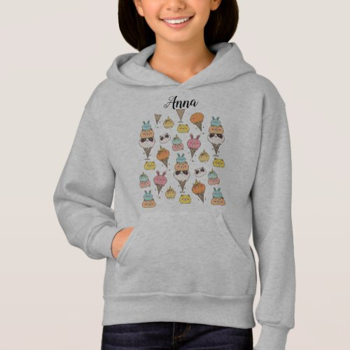 Cute colorful ice_cream animals customizable hoodie