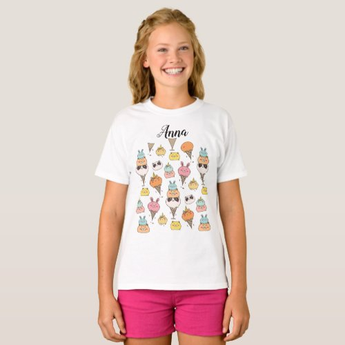 Cute colorful ice_cream animals customizable T_Shirt