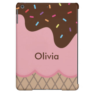 Cute & Colorful Ice Cream & Sprinkles Custom Text Cover For iPad Air