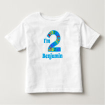 Cute Colorful I'm 2 Personalized Birthday Boy Toddler T-shirt