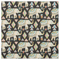 Cute colorful indian elephants pattern fabric