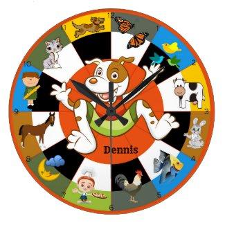 Cute Colorful Kids Animal Wall Clock