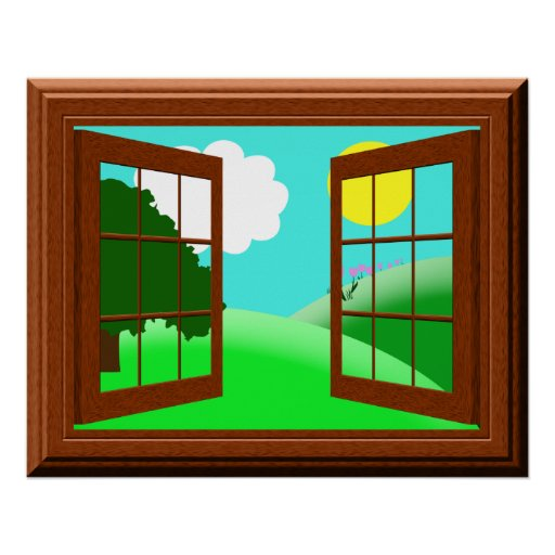 Cute colorful kids cartoon window view poster zazzle for Window design cartoon