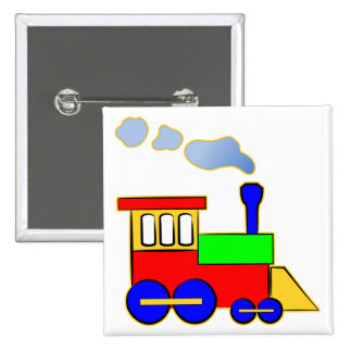 Cute Colorful Kids Train Engine Pinback Button