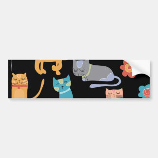 Cute Colorful Kitty Cats Gifts for Cat Lovers Bumper Sticker