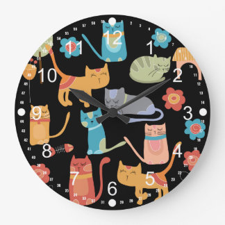 Cute Colorful Kitty Cats Gifts for Cat Lovers Large Clock