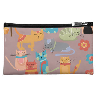Cute Colorful Kitty Cats Gifts for Cat Lovers Pink Cosmetic Bag