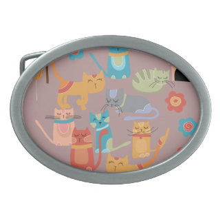 Cute Colorful Kitty Cats Gifts for Cat Lovers Pink Oval Belt Buckles