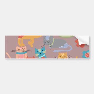 Cute Colorful Kitty Cats Gifts for Cat Lovers Pink Car Bumper Sticker