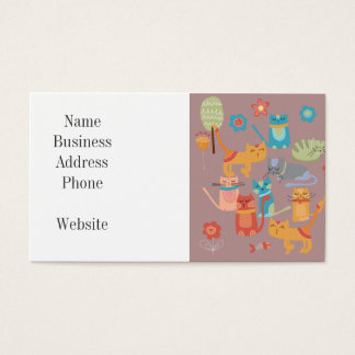 Cute Colorful Kitty Cats Gifts for Cat Lovers Pink Business Card