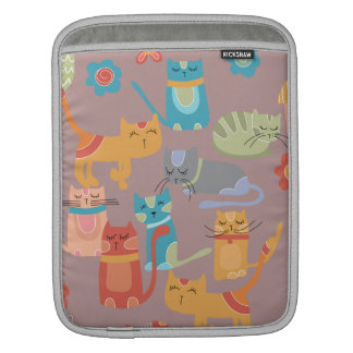 Cute Colorful Kitty Cats Gifts for Cat Lovers Pink iPad Sleeve