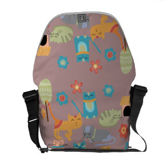 Cute Colorful Kitty Cats Gifts for Cat Lovers Pink Messenger Bag