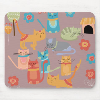 Cute Colorful Kitty Cats Gifts for Cat Lovers Pink Mouse Pad