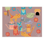 Cute Colorful Kitty Cats Gifts for Cat Lovers Pink Post Cards