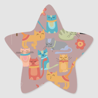 Cute Colorful Kitty Cats Gifts for Cat Lovers Pink Star Sticker