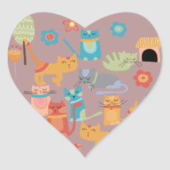 Cute Colorful Kitty Cats Gifts for Cat Lovers Pink Heart Sticker