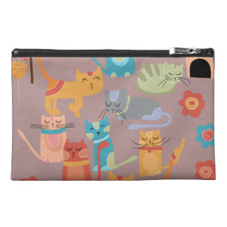 Cute Colorful Kitty Cats Gifts for Cat Lovers Pink Travel Accessory Bag