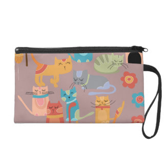 Cute Colorful Kitty Cats Gifts for Cat Lovers Pink Wristlet