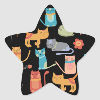 Cute Colorful Kitty Cats Gifts for Cat Lovers Star Sticker