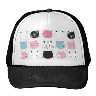 Cute colorful kitty heads pattern,fun kids girly trucker hat