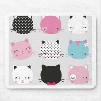 Cute colorful kitty heads pattern,fun kids girly mouse pad