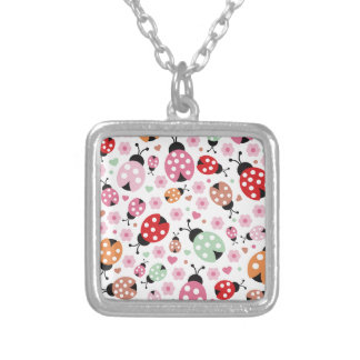 Cute,colorful,lady-bird,floral,girly,for kids,fun square pendant necklace