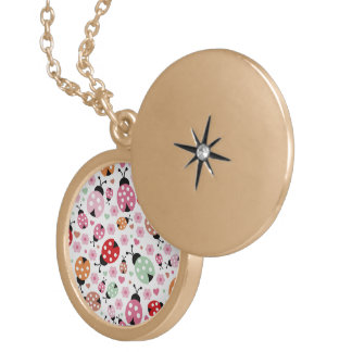 Cute,colorful,lady-bird,floral,girly,for kids,fun, round locket necklace