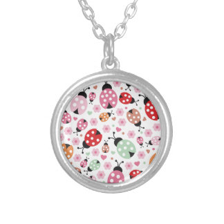 Cute,colorful,lady-bird,floral,girly,for kids,fun round pendant necklace