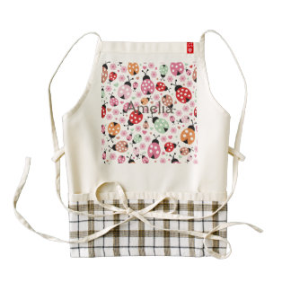 Cute,colorful,lady-bird,floral,girly,for kids,fun, zazzle HEART apron