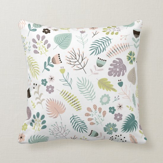 Cute Colorful Leaves Flowers Throw Pillows