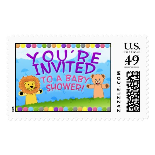 Cute Colorful Lion & Bear Baby Shower Postage