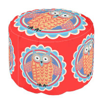 Cute Colorful Little Tribal Aztec Owl Bright Red Pouf