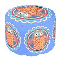 Cute Colorful Little Tribal Aztec Owl Pouf