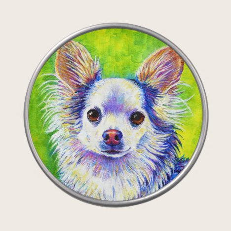 Cute Colorful Longhaired Chihuahua Dog Candy Tin